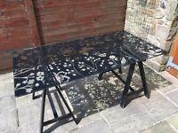 ikea patterned glass top trestle table / desk