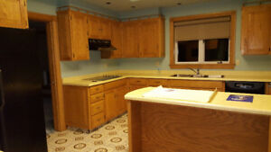 Solid Oak kitchen cabinets and marble vanity countertops