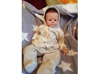 Reborn doll, realistic baby doll, rooted hair, weighted, extras