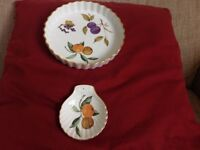 "Royal Worcester Evesham 8 1/2"" flan dish and spoon holder"