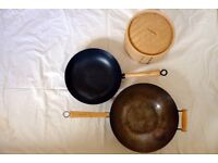 Chinese cooking items. Two Typhoon woks. Bamboo stacking steamer