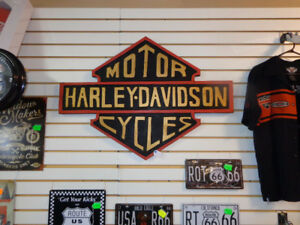 """Harley sign 37"""" wide by 27"""" tall-  recycledgear.ca"""