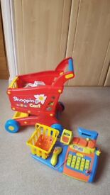 Kids toy cash register and Shoping trolley