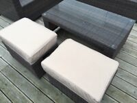 BRAND NEW IN BOX Brown Garden Rattan Coffee table, 2 stools with cushions