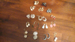 16 sets of costume ear rings - Very pretty,  lots of colors.