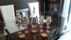 Hand painted decanter and wine glasses