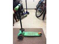 2 x Micro Scooters for 3-5 year olds . One is green and other is blue.