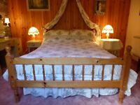Pine double bed with mattress, 3 sets bed linen and bedside table