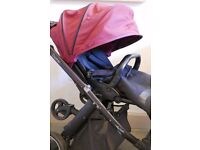 Babystyle Oyster pram travel system 3 in 1 - Black / Claret red