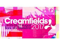2x Creamfields 2017 standard 4 day camping tickets
