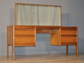 Attractive Large Vintage Retro Teak Twin Pedestal Dressing Table, Wide Mirror