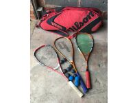 Wilson bag and squash rackets