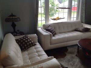White leather couch & Love seat