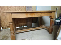 Medium sized solid antique pine wooden cottage style chunky kitchen or dining table
