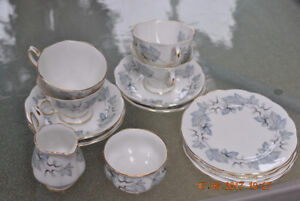Royal Albert Silver Maple Tea Service with gold trim