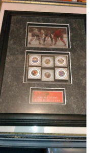 NHL All-Star Memorabilia Plaque with Collectible Stamps
