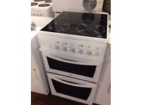 88 Indesit 50cm Wide 4Ring Ceramic Hob Double Cavity Electric Cooker 1 YEAR GUARANTEE FREE DEL N FIT