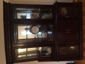 Real wood China cabinet with glass shelving