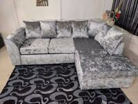 ★★GUARANTEED CHEAPEST PRICE ★★DYLAN CRUSH VELVET CORNER / 3+2 SOFA SET -AVAILABLE SILVER AND BLACK