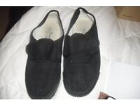 SIZE 4 PAIR BLACK PE PUMPS WITH VELCRO FASTENING