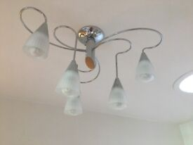 Chrome ceiling light with 6 glass shades
