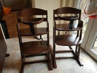 Wooden high chairs ×2
