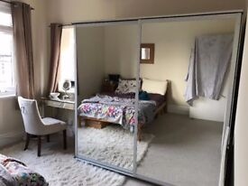 IKEA Pax Double Wardrobes with Sliding Mirror Doors, Drawers and Rails