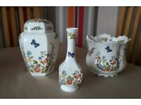 "Aynsley Fine Bone China ""Cottage Garden"" Lidded Ginger Jar, Plant Pot & Bud Vase"
