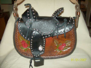 leather saddle purse  ( hand made )