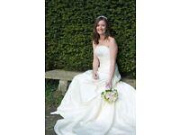 Wedding dress, veil, tiara and shoes.