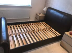 Faux leather sleigh doubled bed. (Frame only) Excellent condition!