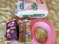 Potty trainig set, 12 changing mats, Dry like me - potty training pads and a potty seat