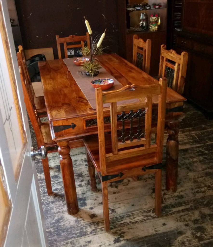 Sheesham Indian Rosewood Dining Table With Solid Wood Chairsin Hartlepool County DurhamGumtree