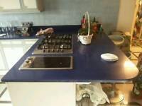 Preowned Kitchen Quartz Granite worktop, Miele hob, Neff Oven, cabinets