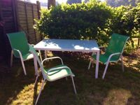 garden table Large white metal with a glass top