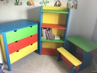 Set of 3 wooden kids desk, bookcase and chest drawers - 2 items are handmade