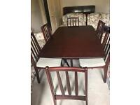 Dark Wood Gate Leg Dining Table and Six Chairs