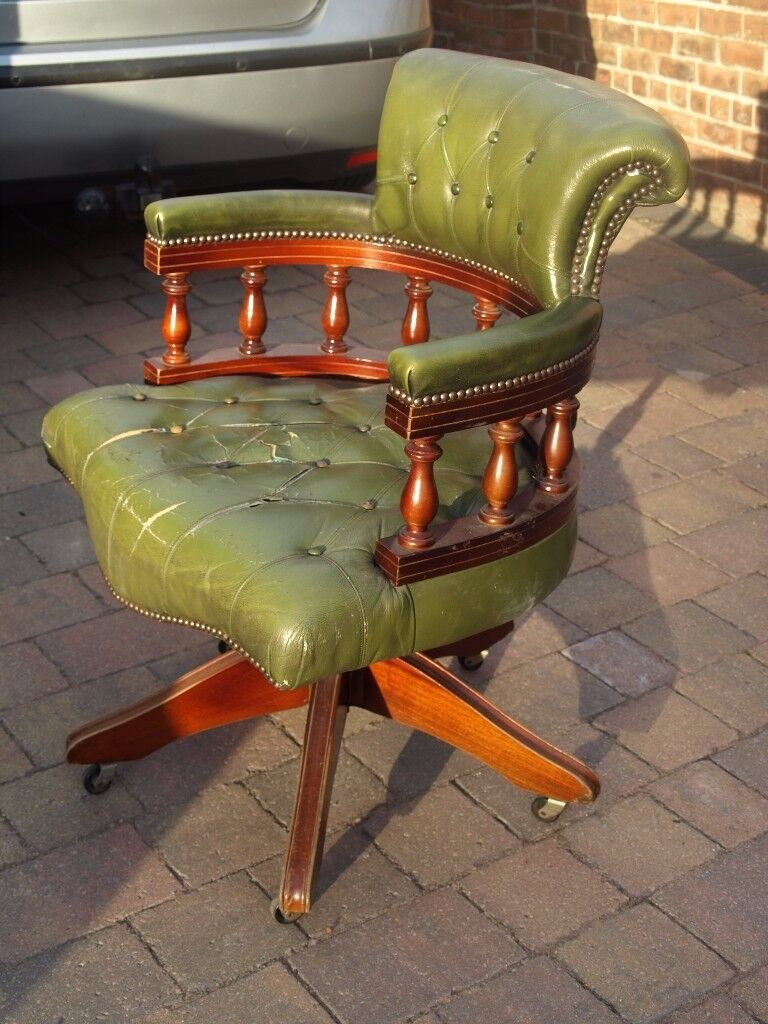 green leather captains chair in poole dorset gumtree