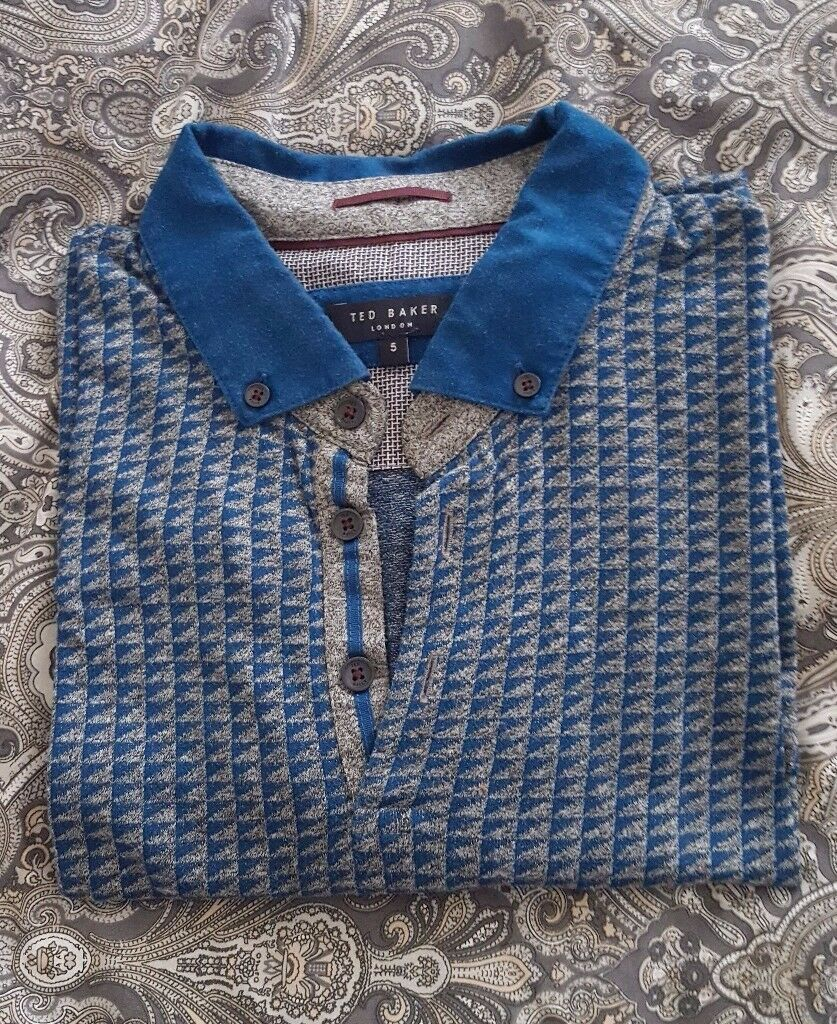 "Gorgeous Ted Baker Men's Grey/Teal Print Polo Shirt – size 5 (42"" chest), excellent condition"
