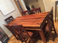 Lovely Solid Wood Dining Table and 6 Matching Leather Covered Chairs