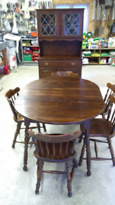 Solid wood kitchen table set with hutch