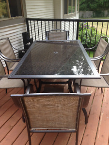 Patio Table, Metal and Glass