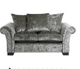 Crushed silver velvet 2 seater sofa
