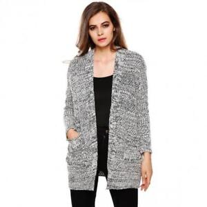 New Fashion Women Long Sleeve Casual Cardigan Loose Long Knit Sw
