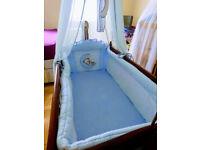 BABY BUNDLE: MAHOGANY SWINGING CRIB, BOUNCY CHAIR, BATH AND BATH SEAT