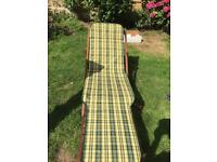Sun lounger with full wooden deck chair with cushion
