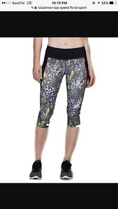 NEW CONDITION LULULEMON CROP SPEED TIGHTS ZIPPERED POCKETS