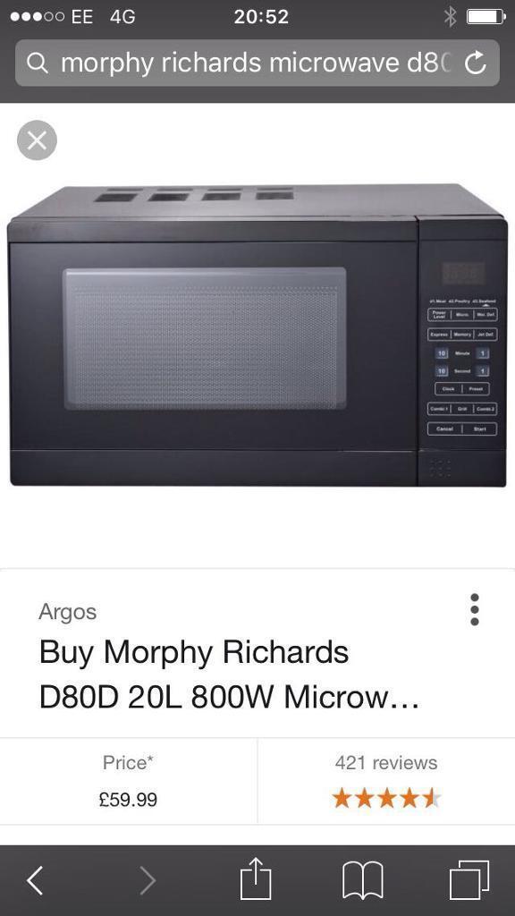 Morphy Richards D80D 20L 800W microwave. Good condition.