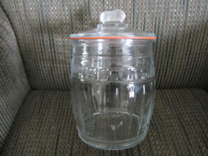 Clear Glass Biscuit or Cookie Jar with Peanut Handle