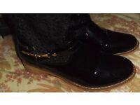 ladies black lace ankle boots